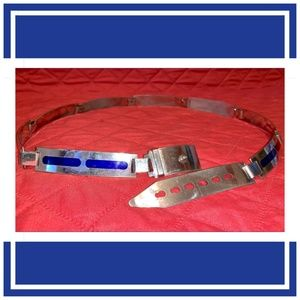 Accessories - Silver and Blue Art Deco Belt Made in Italy